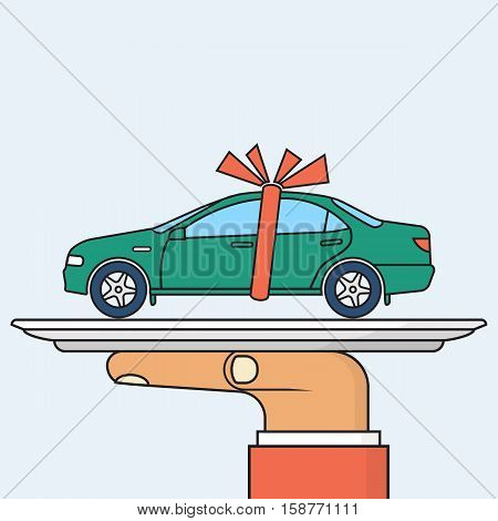 Car gift concept. Man holding a tray of auto with red ribbon. Vector illustration minimal flat design. Best offer cars for sale rent template. Isolated on background. Presentation show vehicle.