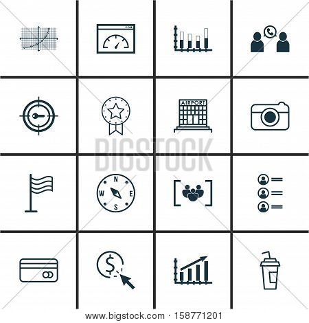 Set Of 16 Universal Editable Icons. Can Be Used For Web, Mobile And App Design. Includes Icons Such As PPC, Airport Construction, Locate And More.