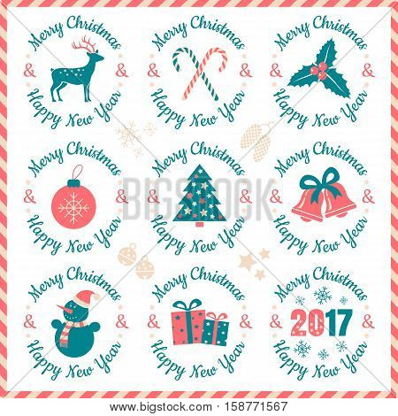 Vector set vintage logos for Christmas and New year. Christmas banners 2017