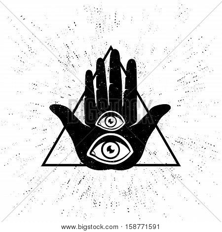 Vintage vector illustration of hand and eyes. Hand and two eyes