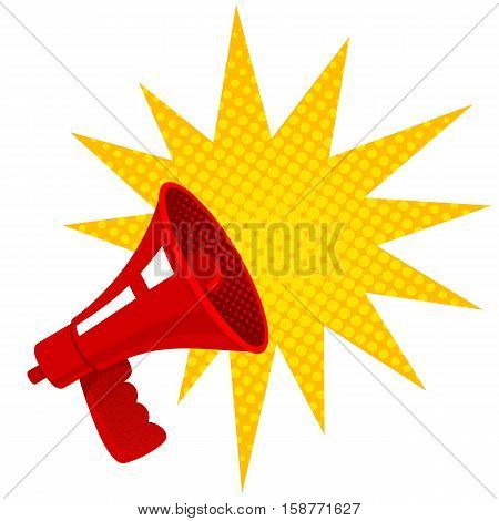 Vector vintage poster with red retro megaphone. Retro megaphone.