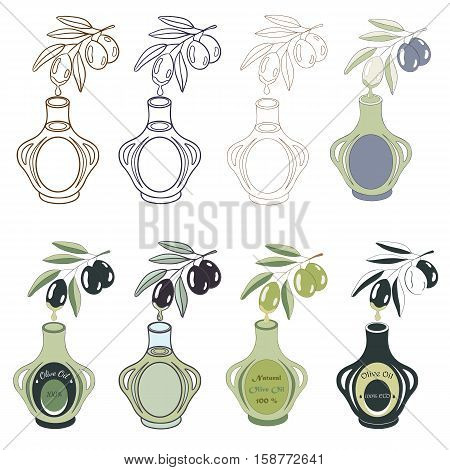 Vector illustration of olive branch with olive fruits and bottle. Different variants of logotype for olives production and farm industry