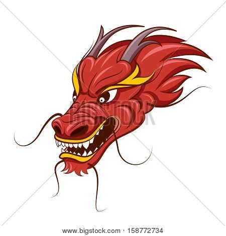Chinese dragon vector illustration. Tattoo of red dragon, head of traditional dragon