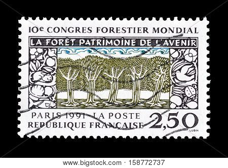 FRANCE - CIRCA 1991 : Cancelled postage stamp printed by France, that shows Forest.
