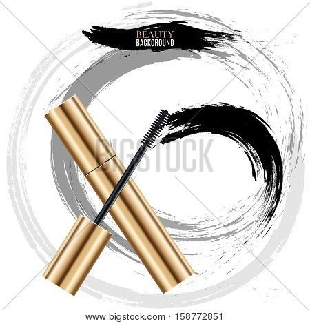 Woman cosmetic brush smears. Vector mascara brush strokes on white background. Mascara brush for woman makeup illustration