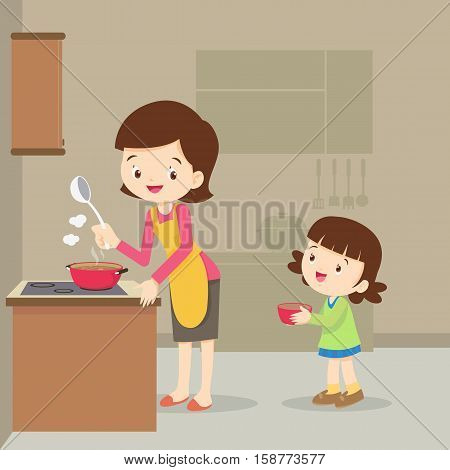 Vector Illustration of a mother and daughter cooking.girl and mother cooking in the kitchen.happy family with mom and children cooking in kitchen