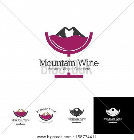 glass of mountain wine for wine or beer brew productions logo concept