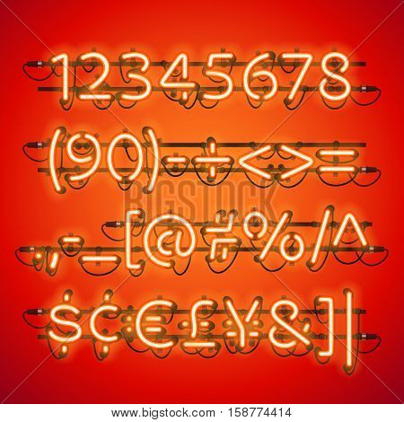 Glowing Neon Red Numbers. Used pattern brushes included. There are fastening elements in a symbol palette.
