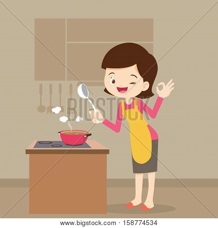 woman tasting her soup and show ok sign.Woman Showing Ok Sign. Housewife Cooking in Her Kitchen.