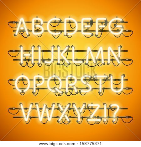 Glowing Neon Honey Yellow Alphabet. Used pattern brushes included. There are fastening elements in a symbol palette.