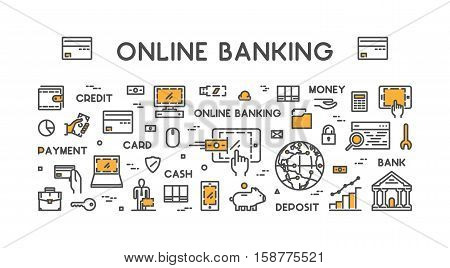 Vector line web concept for online banking. Modern linear banner for internet banking.