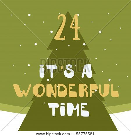 Christmas poster. Colorful Christmas Advent Calendar. Countdown to Christmas- 24.