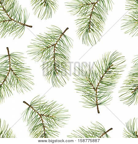 Simple New Year seamless pattern with green pine branches. Watercolor illustration