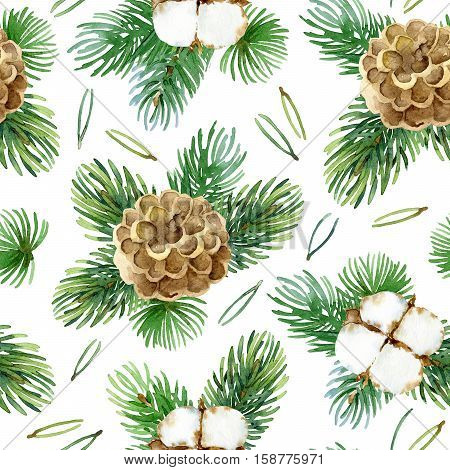 Holiday New Year bright seamless pattern with cotton flowers, fir-tree branches, and cones. Watercolor illustration