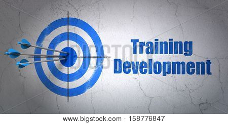 Success Education concept: arrows hitting the center of target, Blue Training Development on wall background, 3D rendering