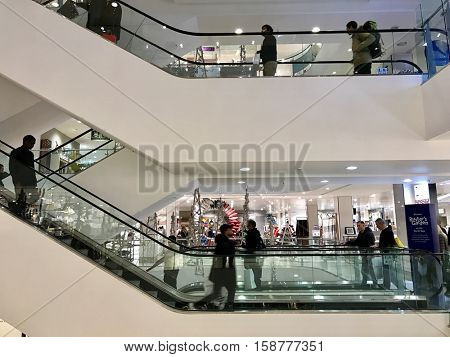 LONDON - NOVEMBER 27: Christmas Shoppers inside John Lewis Oxford Street Department Store during the Black Friday Weekend Sales on November 27, 2016 in London, UK.