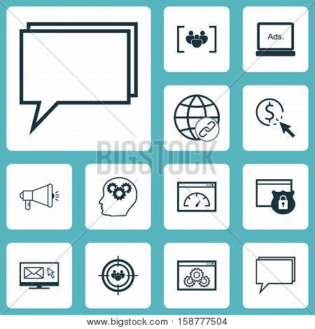 Set Of Marketing Icons On Website Performance, Conference And Connectivity Topics. Editable Vector Illustration. Includes Display, Protected, Audience And More Vector Icons.