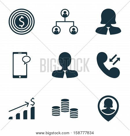 Set Of Management Icons On Tree Structure, Business Woman And Messaging Topics. Editable Vector Illustration. Includes Coins, Cellular, Female And More Vector Icons.