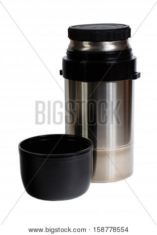 Thermos metal flask isolated on white background.