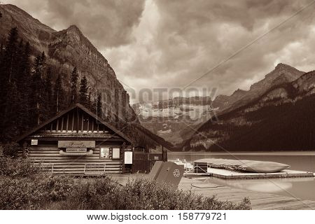 BANFF NATIONAL PARK, CANADA - AUGUST 29: Lake house and mountain lake on August 29, 2015 in Banff National Park, Canada. Established in 1885, it is the oldest national park in Canada.