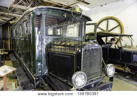 Portland Maine USA - August 10 2009: Old trolley on display at Maine Narrow Gauge Railroad Co & Museum