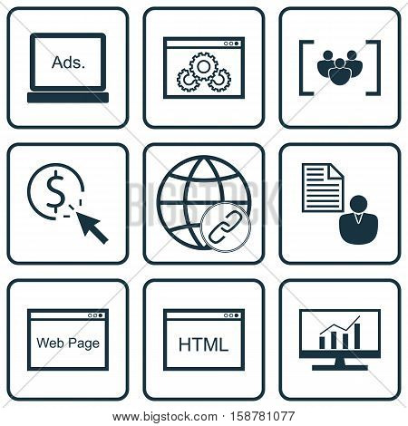 Set Of Marketing Icons On PPC, Digital Media And Connectivity Topics. Editable Vector Illustration. Includes Click, Browser, Brief And More Vector Icons.