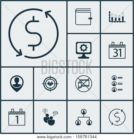 Set Of 12 Universal Editable Icons. Can Be Used For Web, Mobile And App Design. Includes Icons Such As Date, Segmented Bar Graph, Employee Location And More.
