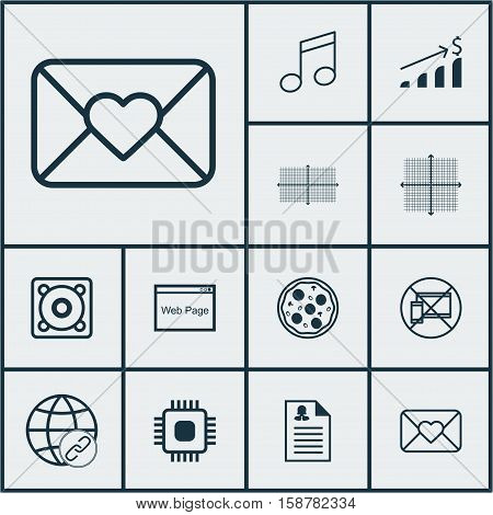 Set Of 12 Universal Editable Icons. Can Be Used For Web, Mobile And App Design. Includes Icons Such As Celebration Letter, Successful Investment, Square Diagram And More.