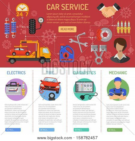 Car Service and Roadside Assistance Infographics with Flat Icons tow truck, support, accumulator and jack. Vector illustration.