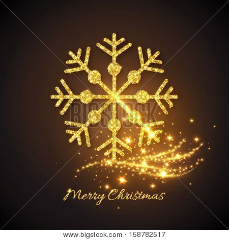 Christmas gold snowflake with glowing lights. Christmas golden background. Vector illustration.