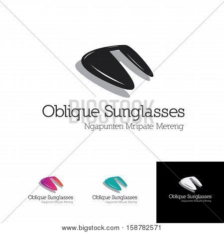 oblique sunglas logo for optic shop or glasses brand product