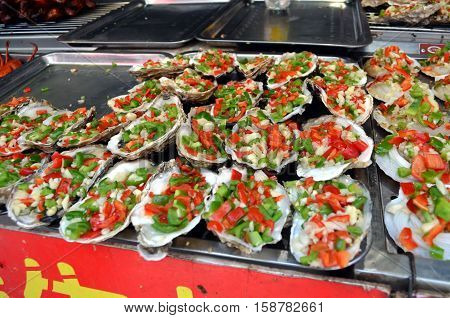 Chinese street food in the Hutongs of Beijing Wangfujing Street