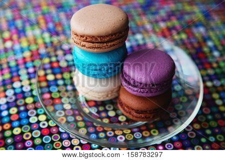 Tasty colorful macaroon. Delicious French dessert in assortiment
