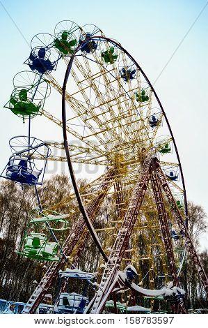 winter amusement Park ride, Ferris wheel, entertainment