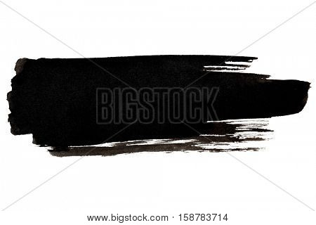 Expressive black brush stroke isolated on the white background - space for own your text