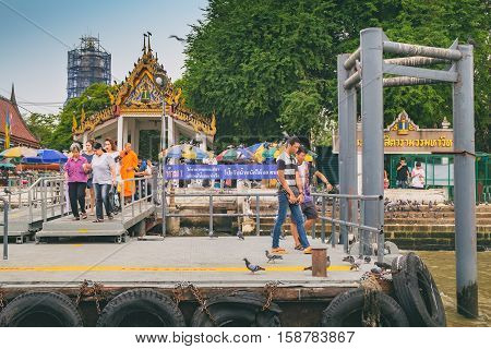 Bangkok, Thailand - January 8, 2016: Wat Rakhang Pier in Bangkok. Wat Rakhang an old Bangkok temple from the Ayutthaya era is one of the favorite temples that you should include in your Bangkok tour