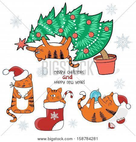 Christmas and New Year set. Cute cartoon cats with Santa hat in Christmas stocking on Xmas tree. Vector pets illustration.