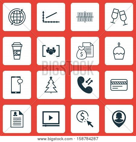 Set Of 16 Universal Editable Icons. Can Be Used For Web, Mobile And App Design. Includes Icons Such As Report, Birthday Cake, PPC And More.