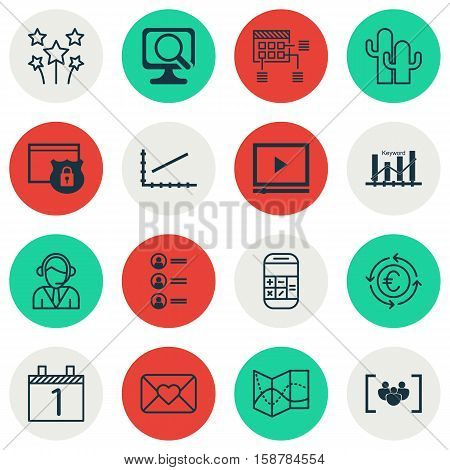 Set Of 16 Universal Editable Icons. Can Be Used For Web, Mobile And App Design. Includes Icons Such As Security, Calculation, Cacti And More.