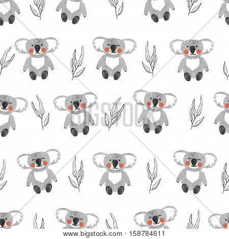 Seamless pattern with cute koala bears. Vector background for kids.