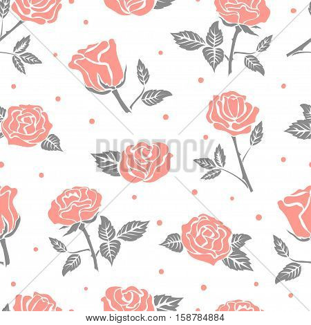 Seamless roses pattern. Vector floral background in pink and grey colors.