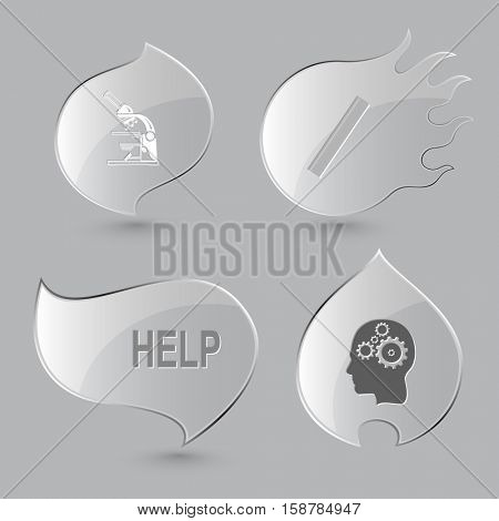 4 images: lab microscope, ruler, help, human brain. Education set. Glass buttons on gray background. Fire theme. Vector icons.