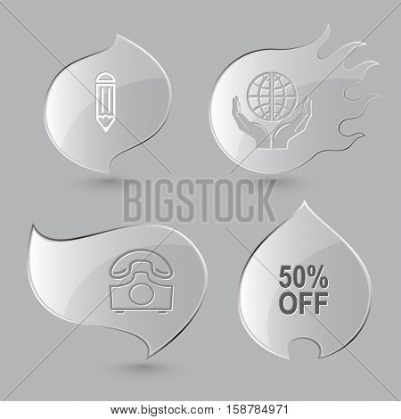 4 images: pencil, protection world, rotary phone, 50% OFF. Business set. Glass buttons on gray background. Fire theme. Vector icons.