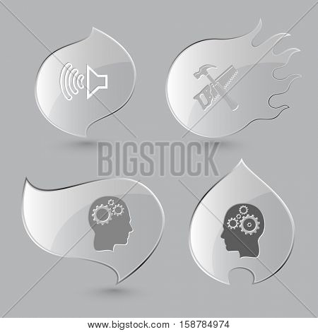 4 images: loudspeaker, hand saw and hammer, human brain. Tehnology set. Glass buttons on gray background. Fire theme. Vector icons.