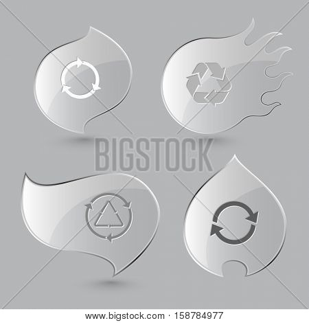 4 images of recycle symbols.  Glass buttons on gray background. Fire theme. Vector icons set.