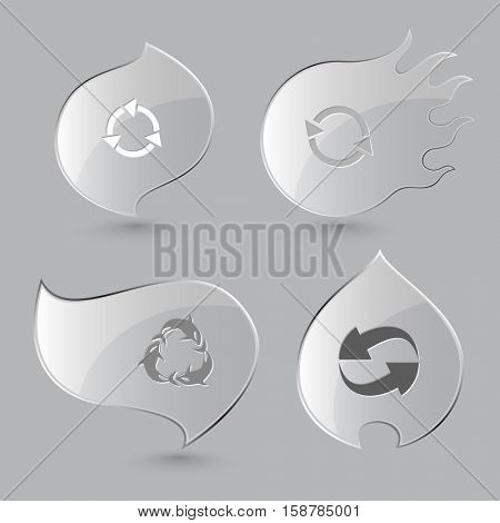 4 images, killer whale as recycling symbol. Recycle symbols set. Glass buttons on gray background. Fire theme. Vector icons.