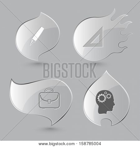 4 images: felt pen, triangle ruler, briefcase, human brain. Education set. Glass buttons on gray background. Fire theme. Vector icons.