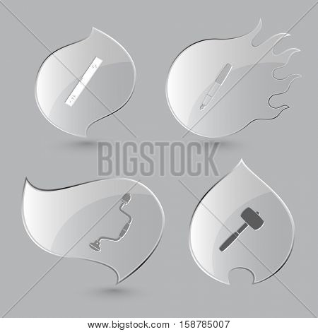 4 images: spirit level, ink pen, hand drill, mallet. Angularly set. Glass buttons on gray background. Fire theme. Vector icons.