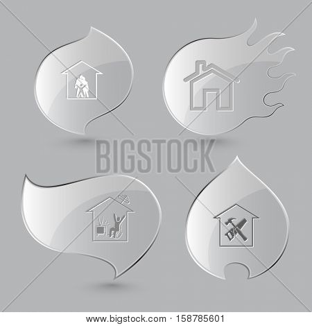 4 images: family, home watching TV, workshop. Home set. Glass buttons on gray background. Fire theme. Vector icons.