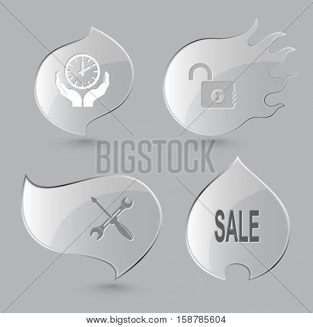 4 images: clock in hands, opened lock, screwdriver and spanner, sale. Business set. Glass buttons on gray background. Fire theme. Vector icons.